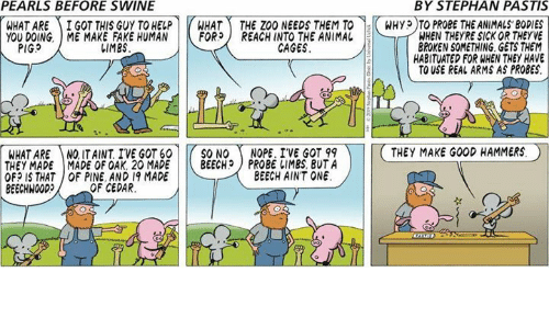 pastis: PEARLS BEFORE SWINE  BY STEPHAN PASTIS  WHAT ARE ) İ GOT THIS GUY TO HELP r HAT -THE ZOO NEEDSTEMT0-KWHyp T PROBETHEANIMALS,BODIES  YOU DOING. ME MAKE FAKE HUMAN |トFOR) REACH INTO THE ANIMAL  WHEN THEYRE SICK OR THEYVE  BROKEN SOMETHING GETS THEM  HABITUATED FOR WHEN THEY HAVE  TO USE REAL ARMS AS PROBES.  PIGS  しIMES  CAGES  WHAT ARE NQ ITAINT IVE GOT 60 | |( SO NO ( NOPE. IVE GOT 99  THEY MADE I MADE OF OAK. 20 MADE | |( BEECH) PROBE IIMBS, BUTA  OF? IS THAT OF PINE AND 19 MADE  BEECHWOOD  THEY MAKE GOOD HAMMERS。  BEECH AINT ONE  OF CEDAR.