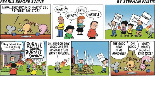 pastis: PEARLS BEFORE SWINE  BY STEPHAN PASTIS  WHOA...THIS GUY SAID WHAT  I  WHAT2  EVIL  RE-TWEET THE STORY  HIM  FoR  Hey What the  THE GOODOH. WAIT!  BURNIT UH. HANG ON GUY  00KS LIKE THE  WORIGINAL STORY  BURN ITWASNT ACCURATE  heck is going  on  NEWS GOODWAIT  IS WE  NOW HE  SAID THIS  APOLOGIZED  DOWN!  AD