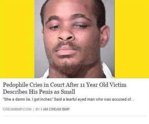 """Creambmp: Pedophile Cries in Court After 11 Year Old Victim  Describes His Penis as Small  She a damn lie. I got inches"""" said a tearful eyed man who was accused of-  CREAMBMP.COM BY I AM CREAM EMP"""