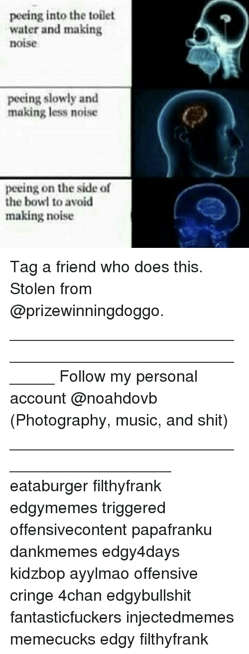 Memes, Bowling, and Bowl: peeing into the toilet  water and making  noise  peeing slowly and  making less noise  peeing on the side of  the bowl to avoid  making noise Tag a friend who does this. Stolen from @prizewinningdoggo. _______________________________________________________ Follow my personal account @noahdovb (Photography, music, and shit) ___________________________________________ eataburger filthyfrank edgymemes triggered offensivecontent papafranku dankmemes edgy4days kidzbop ayylmao offensive cringe 4chan edgybullshit fantasticfuckers injectedmemes memecucks edgy filthyfrank