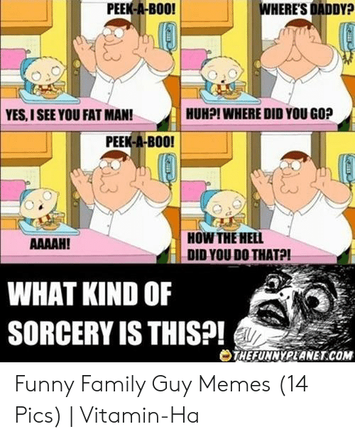 Vitamin Ha: PEEK-A-BOO!  WHERE'S DADDY?  HUHPI WHERE DID YOU GO?  YES,I SEE YOU FAT MAN!  PEEK-A-BOO!  HOW THE HELL  DID YOU DO THATPI  AAAAH!  WHAT KIND OF  SORCERY IS THIS?!  eTHEFUNNYPLANET.COM Funny Family Guy Memes (14 Pics) | Vitamin-Ha