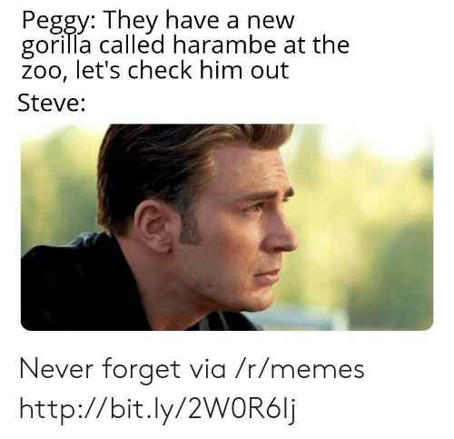 peggy: Peggy: They have a new  gorilla called harambe at the  zoo, let's check him out  Steve: Never forget via /r/memes http://bit.ly/2W0R6Ij