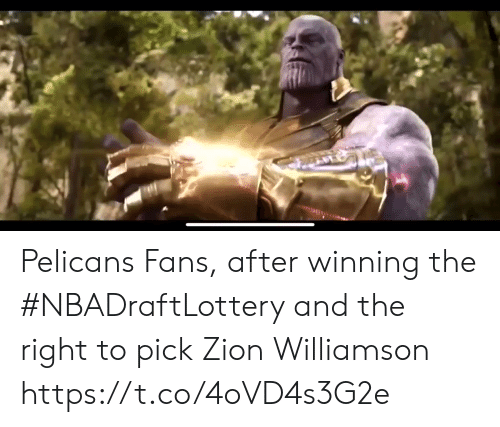 Williamson: Pelicans Fans, after winning the #NBADraftLottery and the right to pick Zion Williamson https://t.co/4oVD4s3G2e