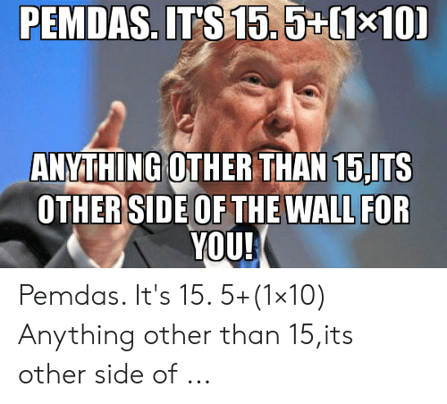 Other Side Of The Wall For You: PEMDAS. IT'S 15.5+(1x10)  ANYTHING OTHER THAN 15,ITS  OTHER SIDE OF THE WALL FOR  YOU! Pemdas. It's 15. 5+(1×10) Anything other than 15,its other side of ...