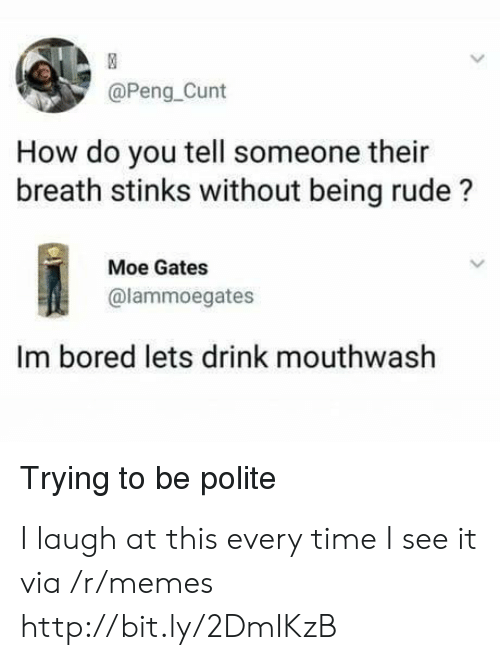 Being Rude: @Peng_Cunt  How do you tell someone their  breath stinks without being rude?  Moe Gates  @lammoegates  Im bored lets drink mouthwash  Trying to be polite I laugh at this every time I see it via /r/memes http://bit.ly/2DmIKzB