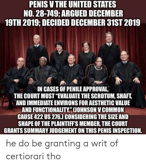 """functionality: PENIS V THE UNITED STATES  NO. 28-749; ARGUED DECEMBER  19TH 2019; DECIDED DECEMBER 31ST 2019  IN CASES OF PENILE APPROVAL,  THE COURT MUST """"EVALUATE THE SCROTUM, SHAFT,  AND IMMEDIATE ENVIRONS FOR AESTHETIC VALUE  AND FUNCTIONALITY,"""" UOHNSON V COMMON  CAUSE 422 US 276) CONSIDERING THE SIZE AND  SHAPE OF THE PLAINTIFF'S MEMBER, THE COURT  GRANTS SUMMARY JUDGEMENT ON THIS PENIS INSPECTION. he do be granting a writ of certiorari tho"""