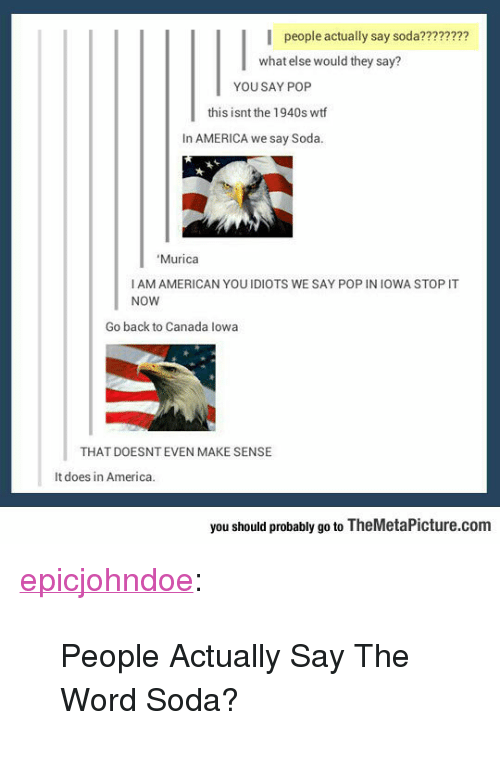 """lowa: people actually say soda????????  what else would they say?  YOU SAY POP  this isnt the 1940s wtf  In AMERICA we say Soda  Murica  I AM AMERICAN YOUIDIOTS WE SAY POP IN IOWA STOP IT  NOW  Go back to Canada lowa  THAT DOESNT EVEN MAKE SENSE  It does in America.  you should probably go to TheMetaPicture.com <p><a href=""""https://epicjohndoe.tumblr.com/post/172729862874/people-actually-say-the-word-soda"""" class=""""tumblr_blog"""">epicjohndoe</a>:</p>  <blockquote><p>People Actually Say The Word Soda?</p></blockquote>"""
