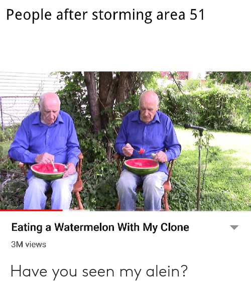 Have You Seen: People after storming area 51  Eating a Watermelon With My Clone  3M views Have you seen my alein?