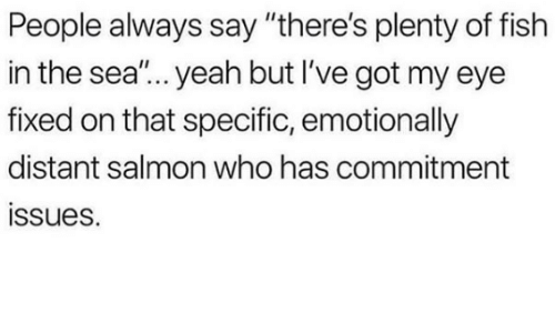 """Plenty of Fish: People always say """"there's plenty of fish  in the sea""""... yeah but I've got my eye  fixed on that specific, emotionally  distant salmon who has commitment  ssues."""