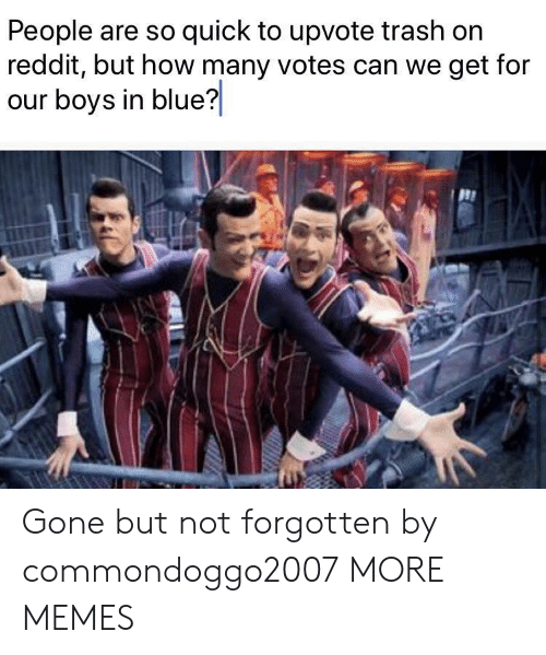 how-many-votes: People are so quick to upvote trash on  reddit, but how many votes can we get for  our boys in blue? Gone but not forgotten by commondoggo2007 MORE MEMES