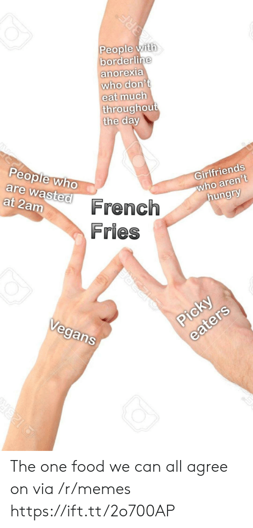 Anorexia: People  borderline  with  anorexia  who don't  eat much  throughou  the da  Girlfriends  who aren't  hungry  People wh  are  wasted  at 2am  French  Fries  Vegans The one food we can all agree on via /r/memes https://ift.tt/2o700AP