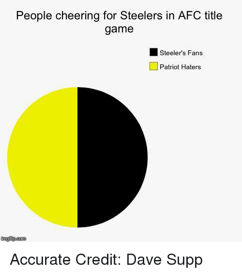 Steelers Fans: People cheering for Steelers in AFC title  game  Steeler's Fans  Patriot Haters  imgilip com Accurate Credit: Dave Supp