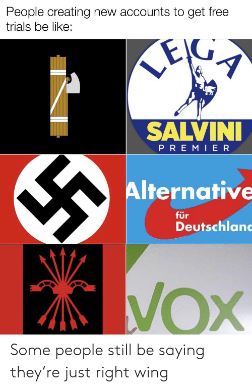 Salvini: People creating new accounts to get free  trials be like:  LE  SALVINI  PREMI ER  Alternative  für  Deutschlan  VOX Some people still be saying they're just right wing