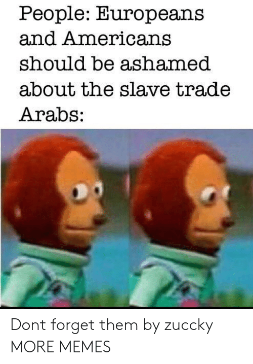 slave trade: People: Europeans  and Americans  should be ashamed  about the slave trade  Arabs: Dont forget them by zuccky MORE MEMES