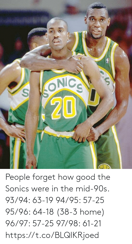 90's: People forget how good the Sonics were in the mid-90s.  93/94: 63-19 94/95: 57-25 95/96: 64-18 (38-3 home) 96/97: 57-25 97/98: 61-21 https://t.co/BLQIKRjoed