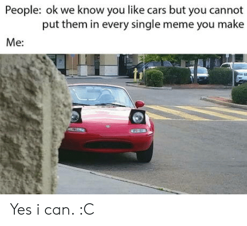Single Meme: People: ok we know you like cars but you cannot  put them in every single meme you make  Me: Yes i can. :C