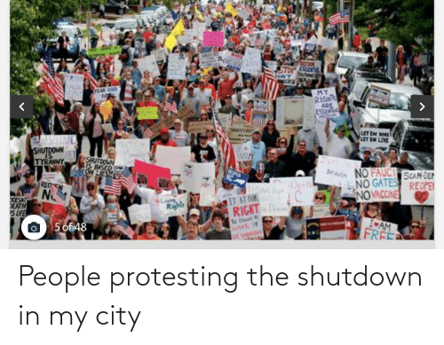 Protesting: People protesting the shutdown in my city
