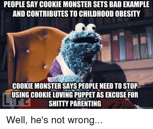 puppeteer: PEOPLE SAY COOKIE MONSTER SETS BAD EXAMPLE  AND CONTRIBUTES TO CHILDHOOD OBESITY  COOKIE MONSTER SAYS PEOPLE NEED TO STOP  USING COOKIE LOVING PUPPET AS EXCUSE FOR  SHITTY PARENTING  me.com Well, he's not wrong...