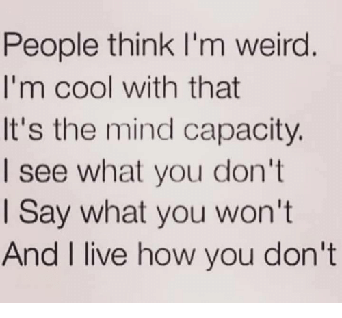 im cool: People think I'm weird  I'm cool with that  It's the mind capacity.  I see what you don't  I Say what you won't  And I live how vou don't