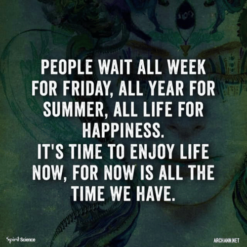 Spirit Science: PEOPLE WAIT ALL WEEK  FOR FRIDAY, ALL YEAR FOR  SUMMER, ALL LIFE FOR  HAPPINESS.  IT'S TIME TO ENJOY LIFE  NOW, FOR NOW IS ALL THE  TIME WE HAVE,  Spirit Science  ARCHANN NET