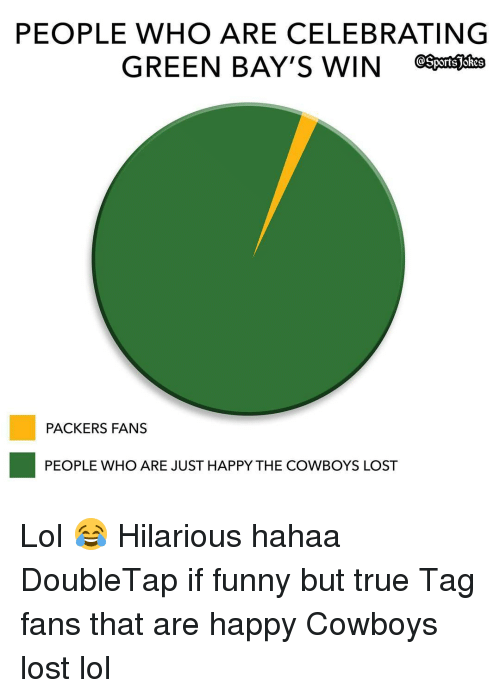 Packer Fans: PEOPLE WHO ARE CELEBRATING  GREEN BAY'S WIN  PACKERS FANS  PEOPLE WHO ARE JUST HAPPY THE COWBOYS LOST Lol 😂 Hilarious hahaa DoubleTap if funny but true Tag fans that are happy Cowboys lost lol