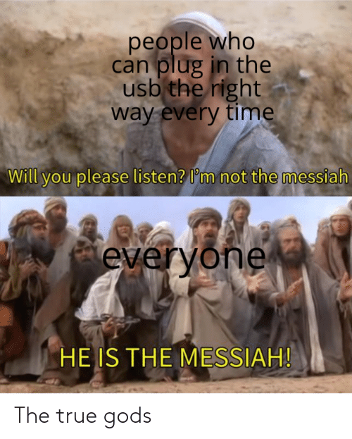 plug: people who  can plug in the  usb the right  way every time  Will you please listen? I'm not the messiah  everyone  HE IS THE MESSIAH! The true gods