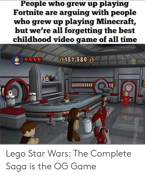 Lego Star Wars: People who grew up playing  Fortnite are arguing with people  who grew up playing Minecraft  but we're all forgetting the best  childhood video game of all time  0 Lego Star Wars: The Complete Saga is the OG Game