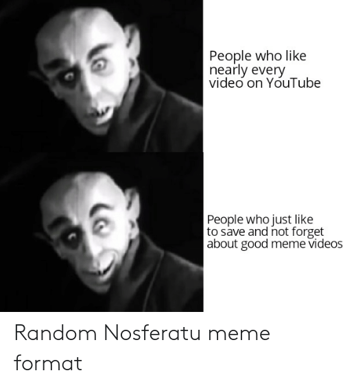 Meme Videos: People who like  nearly every  video on YouTube  People who just like  to save and not forget  about good meme videos Random Nosferatu meme format