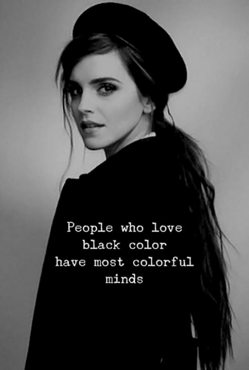 colorful: People who love  black color  have most colorful  minds