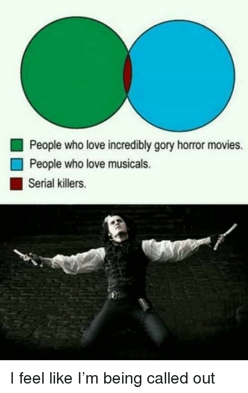 musicals: People who love incredibly gory horror movies.  People who love musicals.  Serial killers I feel like I'm being called out