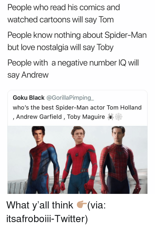 Andrew Garfield: People who read his comics and  watched cartoons will say Tom  People know nothing about Spider-Man  but love nostalgia will say Toby  People with a negative number IQ will  say Andrew  Goku Black @GorillaPimping_  who's the best Spider-Man actor Tom Holland  , Andrew Garfield, Toby Maguire What y'all think 👉🏽(via: itsafroboiii-Twitter)