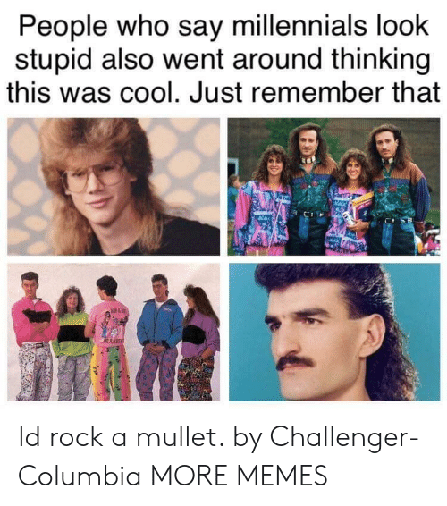 mullet: People who say millennials loohk  stupid also went around thinking  this was cool. Just remember that Id rock a mullet. by Challenger-Columbia MORE MEMES