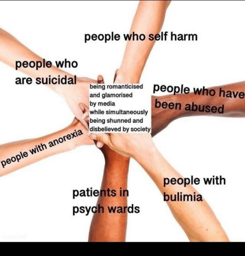 Psych: people who self harm  people who  are suicidal eng romanicsed people who have  being romanti  and glamorised  by media  while simultaneously  being shunned and  disbelieved by society  been abused  patients in  psych wards  people with  bulimia