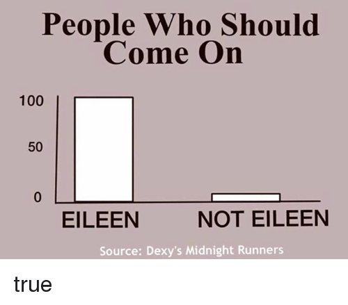 dexys midnight runners: People Who Should  Come On  100  50  NOT EILEEN  EILEEN  Source: Dexy's Midnight Runners true