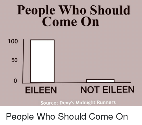 dexys midnight runners: People Who Should  Come On  100  I r  50  EILEEN  NOT EILEEN  Source: Dexy's Midnight Runners