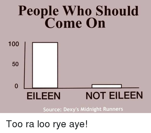 dexys midnight runners: People Who Should  Come On  100  l  50  EILEEN  NOT EILEEN  Source: Dexy's Midnight Runners