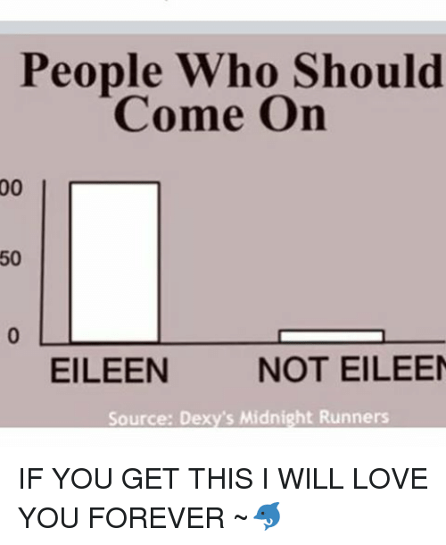 dexys midnight runners: People Who Should  Come On  50  EILEEN  NOT EILEEN  Source: Dexy's Midnight Runners IF YOU GET THIS I WILL LOVE YOU FOREVER ~🐬