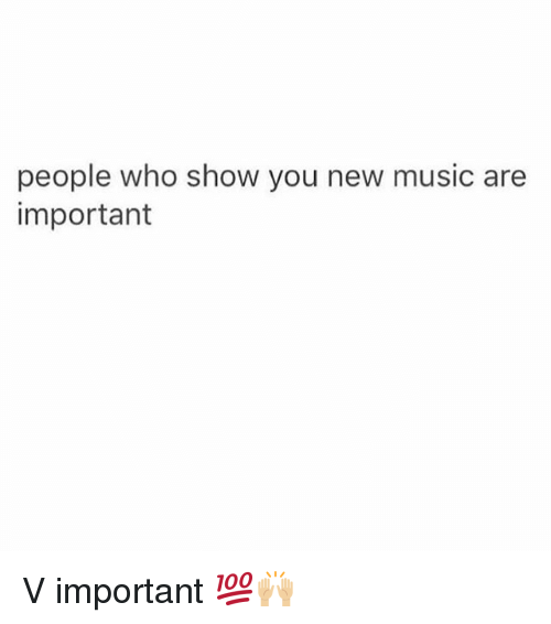 Memes, Music, and 🤖: people who show you new music are  important V important 💯🙌🏼