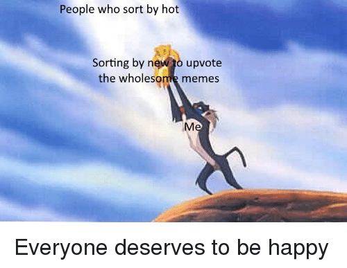 Wholesome Memes: People who sort by hot  Sorting by n  upvote  the wholesome memes Everyone deserves to be happy