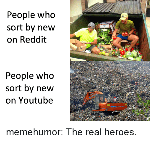 Reddit, Tumblr, and youtube.com: People who  sort by new  on Reddit  People who  sort by new  on Youtube memehumor:  The real heroes.