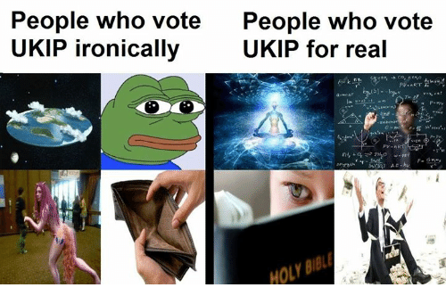 Ironic: People who vote  People who vote  UKIP for real  UKIP ironically  PV-ART  HOLY
