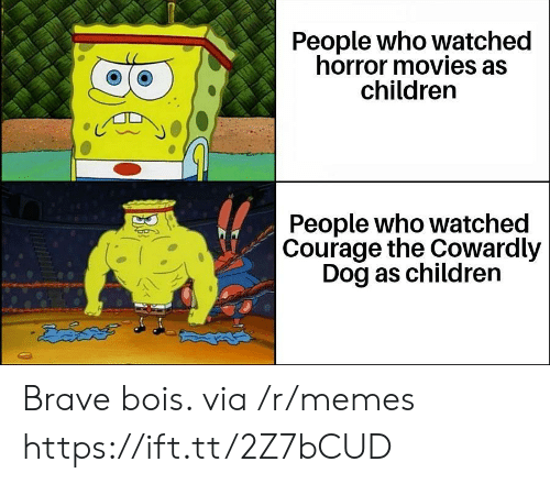 Courage the Cowardly Dog: People who watched  horror movies as  children  People who watched  Courage the Cowardly  Dog as children  డదేపతో Brave bois. via /r/memes https://ift.tt/2Z7bCUD