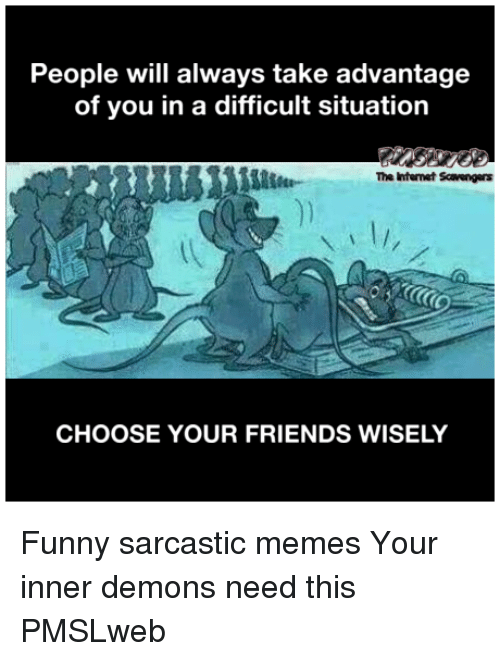sarcastic memes: People will always take advantage  of you in a difficult situation  The Internet Scavengers  CHOOSE YOUR FRIENDS WISELY <p>Funny sarcastic memes  Your inner demons need this  PMSLweb </p>