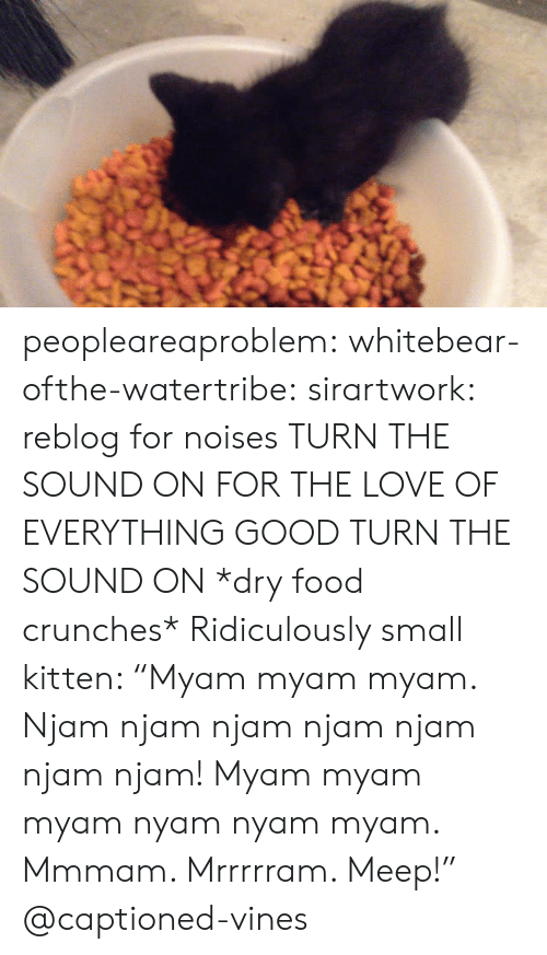 "crunches: peopleareaproblem:  whitebear-ofthe-watertribe:  sirartwork:  reblog for noises  TURN THE SOUND ON FOR THE LOVE OF EVERYTHING GOOD TURN THE SOUND ON  *dry food crunches* Ridiculously small kitten: ""Myam myam myam. Njam njam njam njam njam njam njam! Myam myam myam nyam nyam myam. Mmmam. Mrrrrram. Meep!"" @captioned-vines"