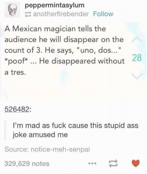 "Senpai: peppermintasylum  anotherfirebender Follow  A Mexican magician tells the  audience he will disappear on the  count of 3. He says, ""uno, dos...""  *poof* He disappeared without 28  a tres.  526482:  I'm mad as fuck cause this stupid ass  joke amused me  Source: notice-meh-senpai  329,629 notes"