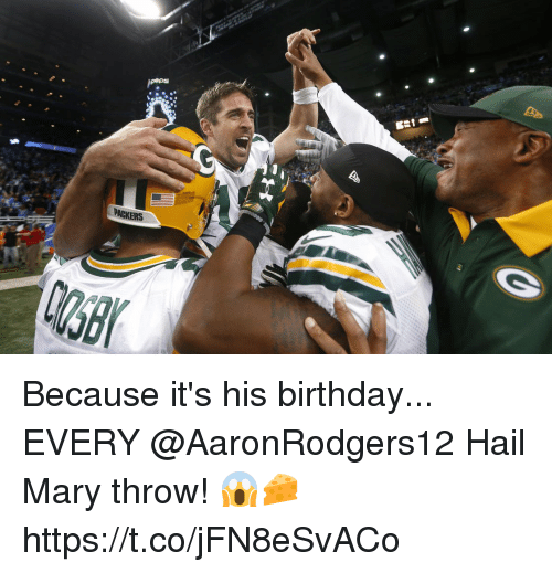 Birthday, Hail Mary, and Memes: pepsi  PACKERS Because it's his birthday...   EVERY @AaronRodgers12 Hail Mary throw! 😱🧀 https://t.co/jFN8eSvACo