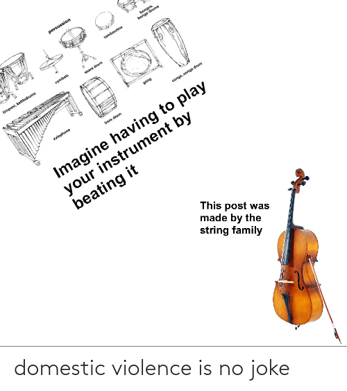 cymbals: percussion  bongos,  bongo drums  tambourine  cymbals  timpani, kettledrums  snare drum  gong  xylophone  conga, conga drum  bass drum  Imagine having to play  your instrument by  beating it  This post was  made by the  string family domestic violence is no joke