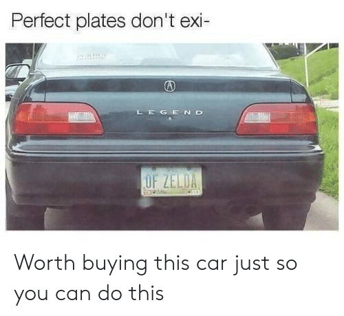Dont Exi: Perfect plates don't exi-  GEND  OF ZELDA Worth buying this car just so you can do this