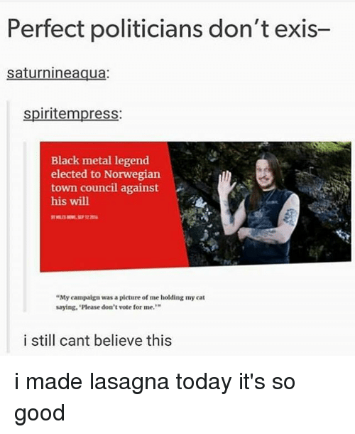"""Dont Vote: Perfect politicians don't exis-  saturnineaqua:  spiritempress:  Black metal legend  elected to Norwegian  town council against  his will  """"My campaign was a picture of me holding my cat  saying, 'Please don't vote for me.""""  10  i still cant believe this i made lasagna today it's so good"""