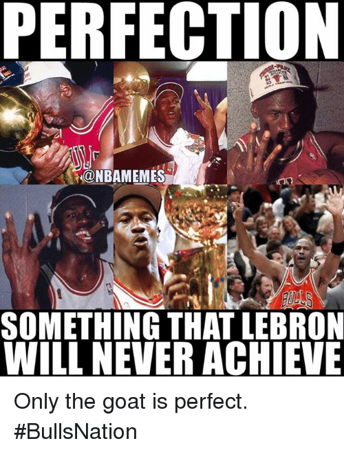 Nba, Goat, and Lebron: PERFECTION  NBAMEMES  SOMETHING THAT LEBRON  WILL NEVERACHIEVE Only the goat is perfect. #BullsNation